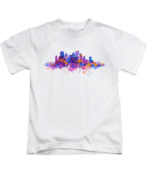 Pittsburgh Skyline Kids T-Shirt by Marian Voicu