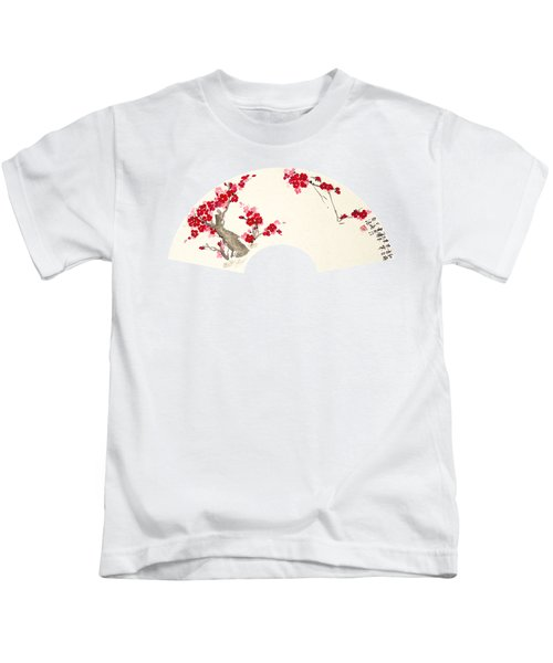 Plum Blossom In Fan - Transparent Kids T-Shirt