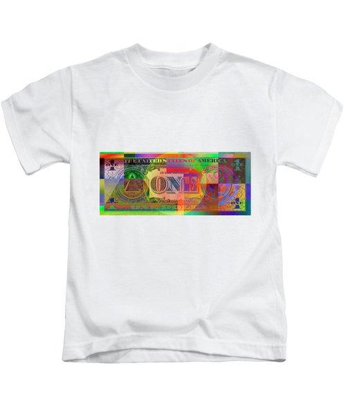 Pop-art Colorized One U. S. Dollar Bill Reverse Kids T-Shirt