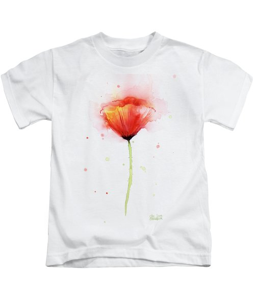 Poppy Watercolor Red Abstract Flower Kids T-Shirt