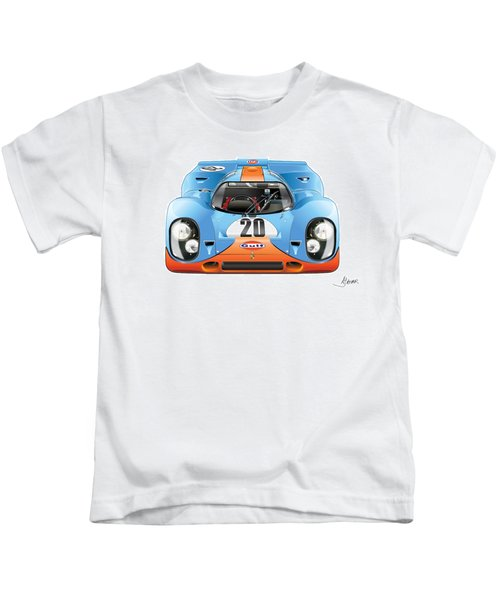 Porsche 917 Gulf On White Kids T-Shirt