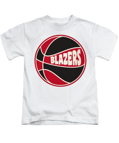 Portland Trail Blazers Retro Shirt Kids T-Shirt by Joe Hamilton