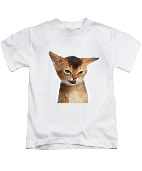 Portrait Of Kitten With Showing Middle Finger Kids T-Shirt