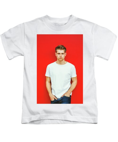 Portrait Of Young Handsome Man Kids T-Shirt