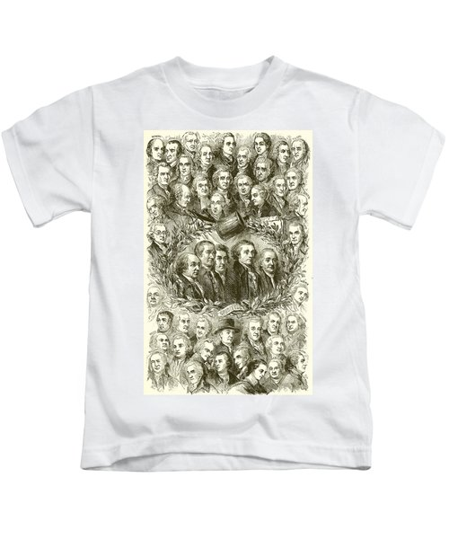 Portraits Of The Signers Of The Declaration Of Independence Kids T-Shirt