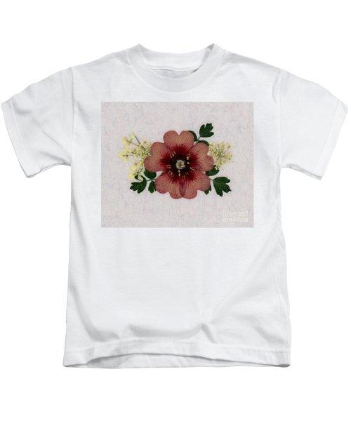 Potentilla And Queen-ann's-lace Pressed Flower Arrangement Kids T-Shirt