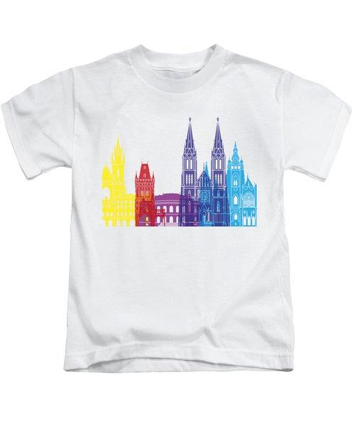 Prague Skyline Pop Kids T-Shirt