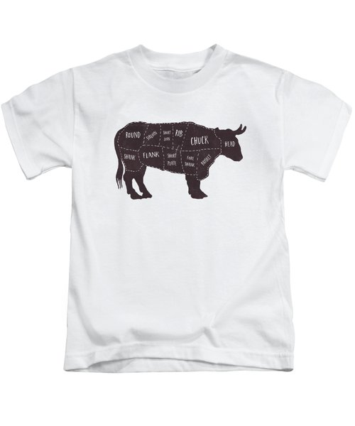 Primitive Butcher Shop Beef Cuts Chart T-shirt Kids T-Shirt by Edward Fielding