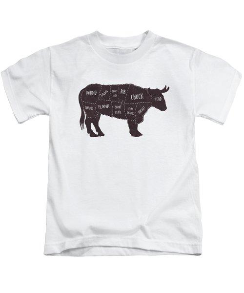 Primitive Butcher Shop Beef Cuts Chart T-shirt Kids T-Shirt