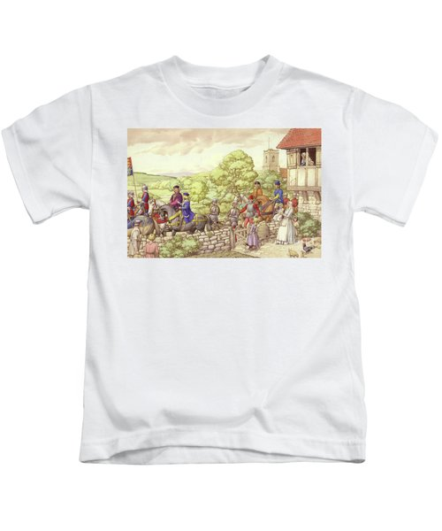 Prince Edward Riding From Ludlow To London Kids T-Shirt by Pat Nicolle
