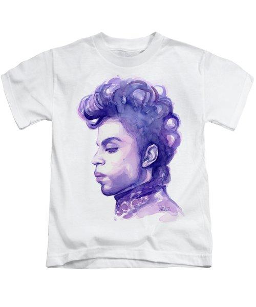 Prince Musician Watercolor Portrait Kids T-Shirt by Olga Shvartsur