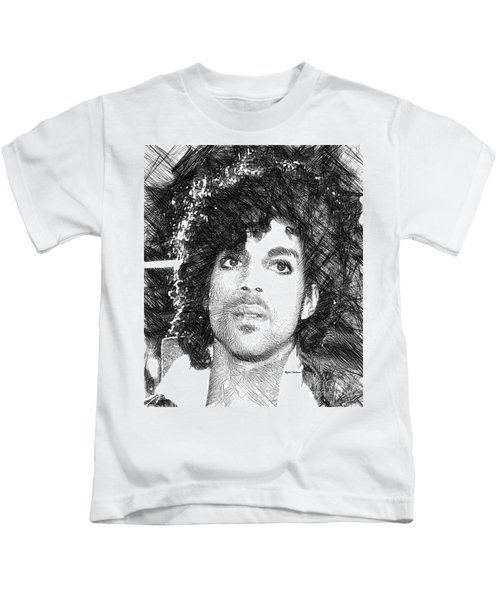 Prince - Tribute Sketch In Black And White 3 Kids T-Shirt
