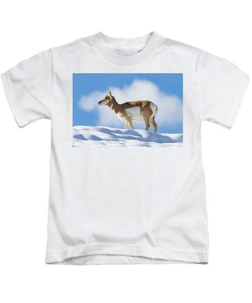 Pronghorn Doe On Snowy Ridge Kids T-Shirt