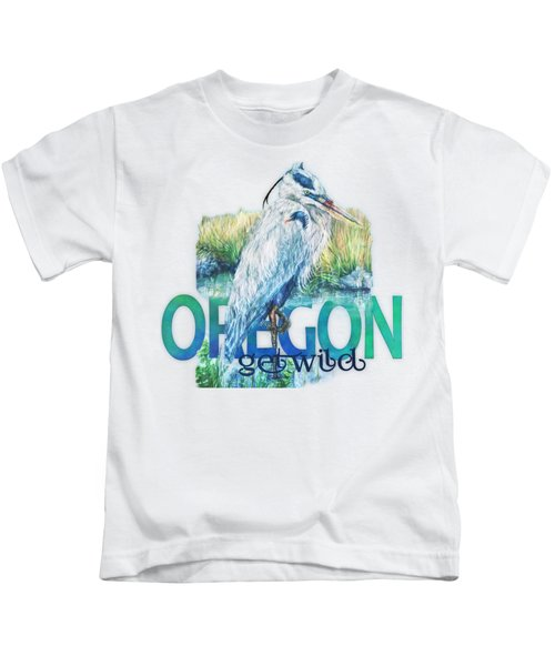 Puddletown Great Blue Heron Kids T-Shirt by Kara Skye