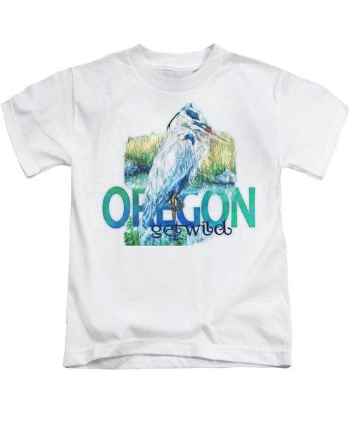 Puddletown Great Blue Heron Kids T-Shirt by Kara Skye