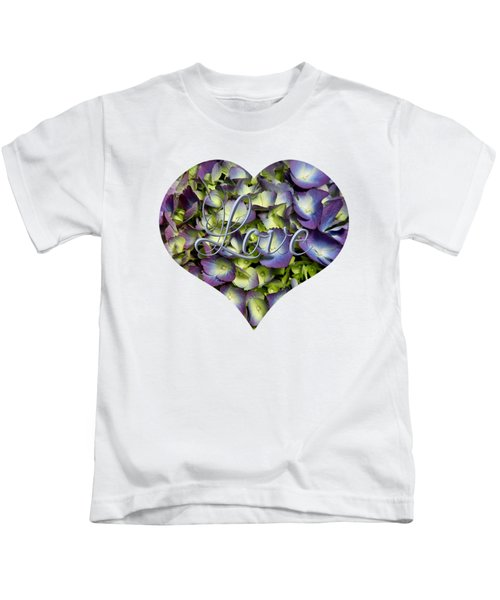 Purple And Cream Hydrangea Flowers Heart With Love Kids T-Shirt