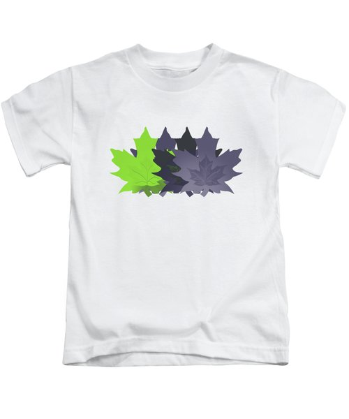 Purple And Green Leaves Kids T-Shirt by Methune Hively