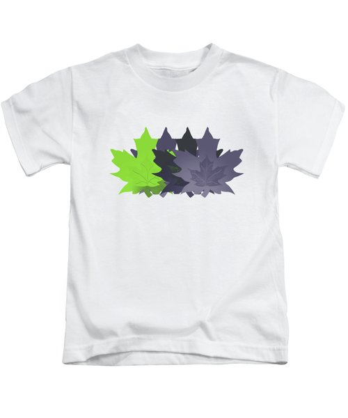 Purple And Green Leaves Kids T-Shirt