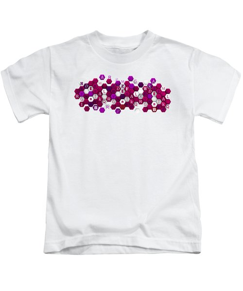 Purple Hexagons With Letters. Kids T-Shirt