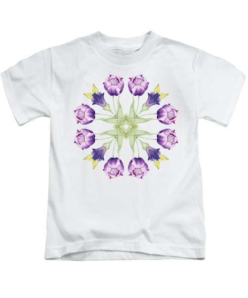 Purple Tulip Mandala Kids T-Shirt