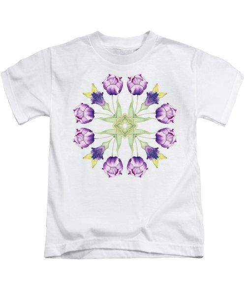 Purple Tulip Mandala Kids T-Shirt