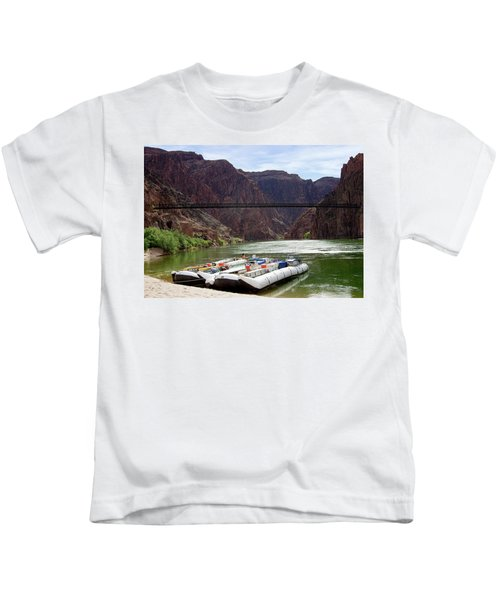 Rafts With Black Bridge In The Distance Kids T-Shirt
