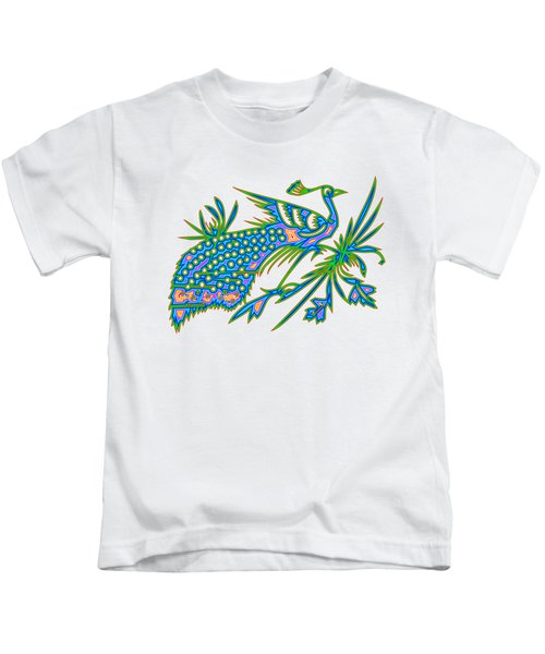 Rainbow Multicolored Peacock On A Branch Kids T-Shirt