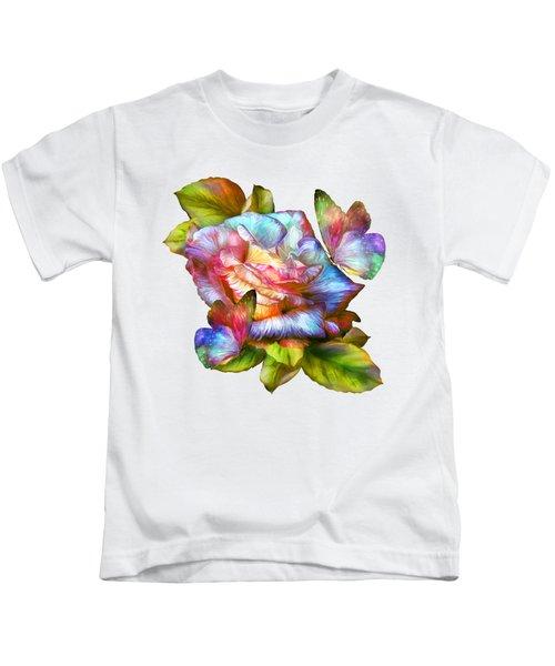 Rainbow Rose And Butterflies Kids T-Shirt