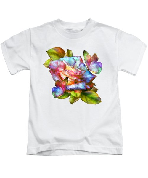 Rainbow Rose And Butterflies Kids T-Shirt