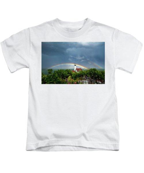 Rainbow X 2 At Portland Headlight Kids T-Shirt