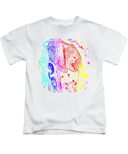 Rainbow Zentangle Elephant Kids T-Shirt
