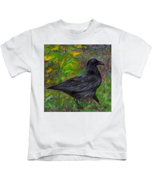 Raven In Goldenrod Kids T-Shirt
