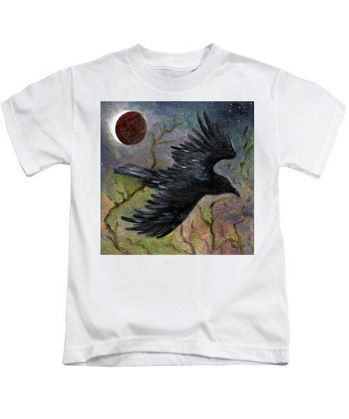 Raven In Twilight Kids T-Shirt