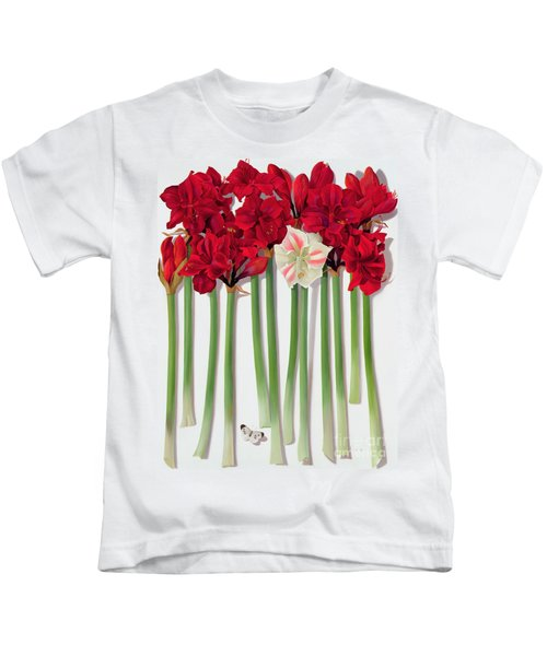 Red Amaryllis With Butterfly Kids T-Shirt