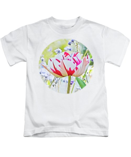 Red And White Tulip Kids T-Shirt