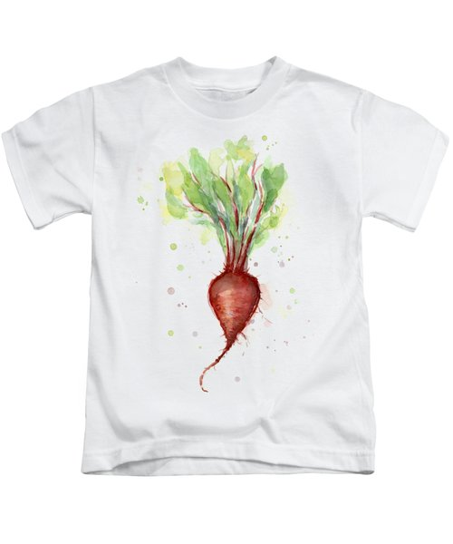 Red Beet Watercolor Kids T-Shirt by Olga Shvartsur