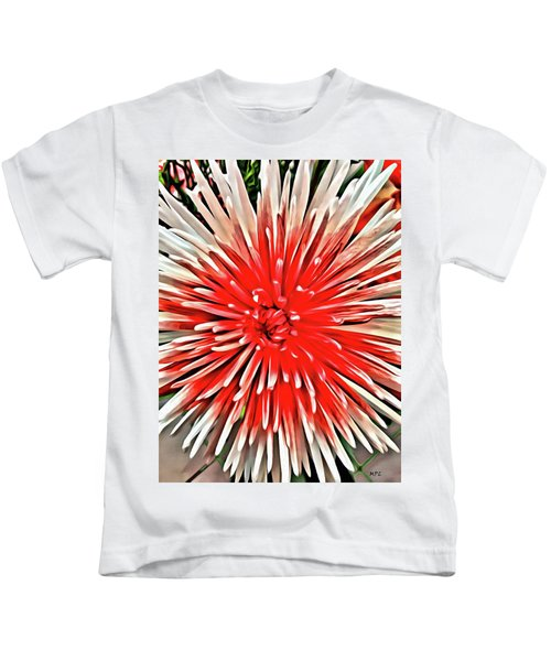 Kids T-Shirt featuring the painting Red Burst by Marian Palucci-Lonzetta