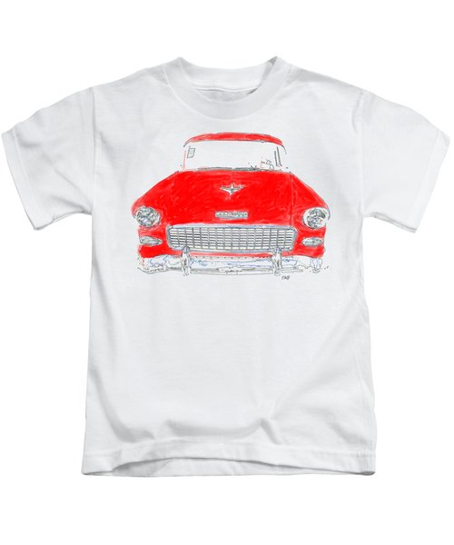 Kids T-Shirt featuring the drawing Red Chevy T-shirt by Edward Fielding