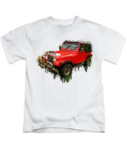 Red Jeep Off Road Acrylic Painting Kids T-Shirt