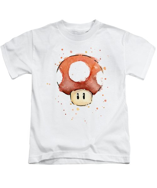 Red Mushroom Watercolor Kids T-Shirt