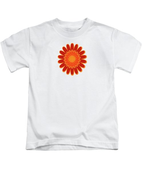 Red Sunflower Pattern Kids T-Shirt by Methune Hively