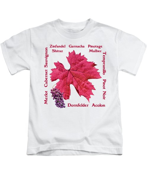 Red Wines Lettering Kids T-Shirt