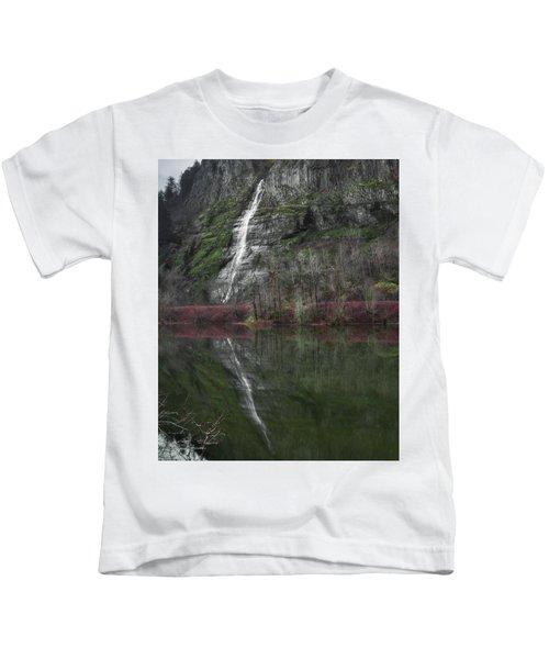 Reflection Of A Waterfall Kids T-Shirt