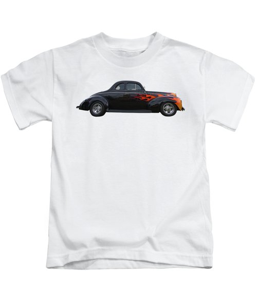 Reflections Of A 1940 Ford Deluxe Hot Rod With Flames Kids T-Shirt