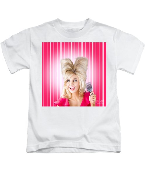 Retro Woman With Hairstyle Love. Heart Shape Hair Kids T-Shirt
