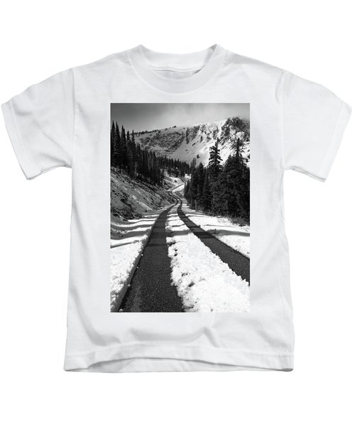 Ribbon To The Unknown Monochrome Art By Kaylyn Franks Kids T-Shirt