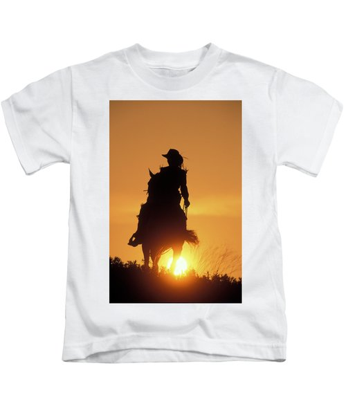 Riding Cowgirl Sunset Kids T-Shirt