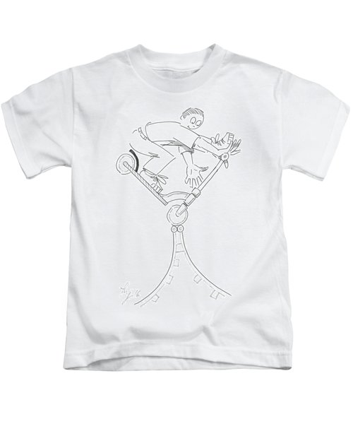 Riding The Spine Ramp - Microscooter Cartoon Kids T-Shirt