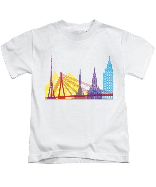 Riga Skyline Pop Kids T-Shirt