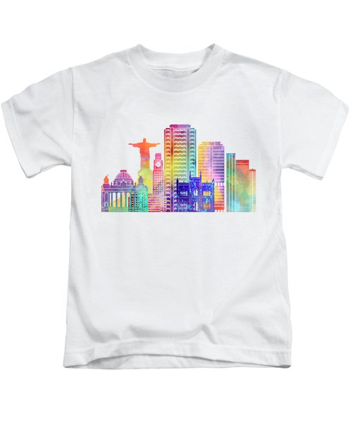 Rio De Janeiro Landmarks Watercolor Poster Kids T-Shirt